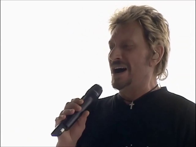 """Johnny Hallyday -Première  répétition sur le """" Le cœur en deux """" 2003"""