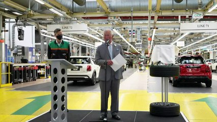 Prince Charles visits electric Mini plant in Oxford