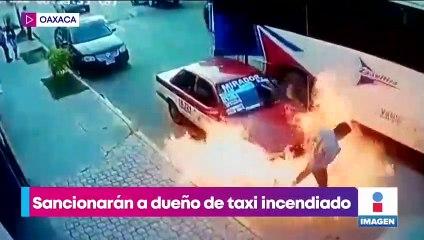 Taxi se incendia por fuga de gasolina y pasajeros se quedan adentro