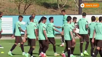 Cristiano Ronaldo trains for Euro warm-up vs Israel
