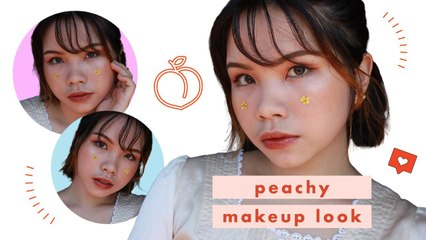 Peachy Aesthetic Makeup Look (NO BRUSHES NEEDED!)