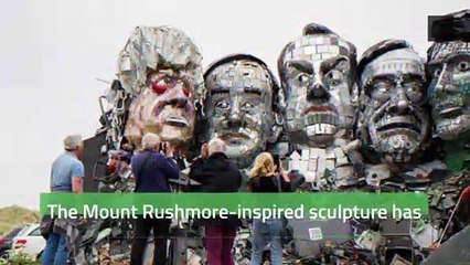 'Mount Recyclemore' Sculpture Created Ahead of G7 Summit