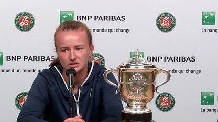 "Roland-Garros 2021 - Barbora Krejcikova : ""Happy. I'm extremely happy. I mean, it's a dream come true, for sure"""