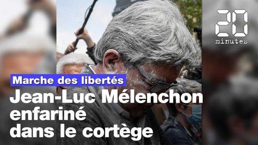 Marche des libertés : Jean-Luc Mélenchon enfariné dans le cortège