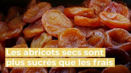 Vrai:Faux : les abricots secs sont plus sucrés que les frais