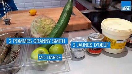 Recette 20/06 : Gambas flambées, céleri rémoulade au yuzu, pommes Grany Smith et concombre