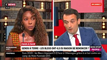 """Genou à terre: Les Bleus ont-ils eu raison de renoncer ? Regardez le débat tendu entre Florian Philippot et Thiaba Bruni, Vice-Présidente du CRAN, dans """"Morandini Live"""" - VIDEO"""