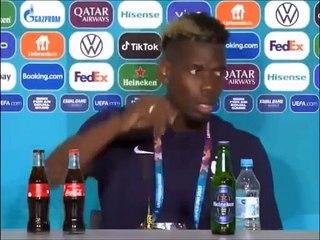 Paul Pogba écarte la cannette de bière Heineken 0% en conférence de presse après France - Allemagne [Euro 2020]