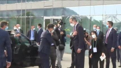 Pere Aragonés coincide con el rey en el Círculo de Economía