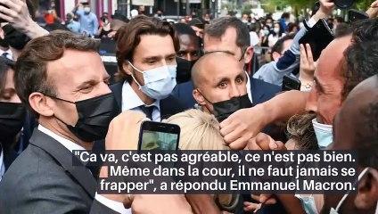 """En déplacement dans la Somme, le Président Emmanuel Macron a été interpellé par un enfant au sujet de la gifle: """"Ca va la claque que tu t'es prise ?"""" - VIDEO"""