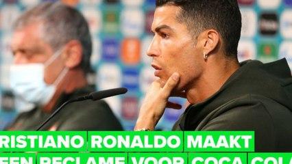 Cristiano Ronaldo verwijdert verontwaardigd colaflesjes bij EK-persconferentie