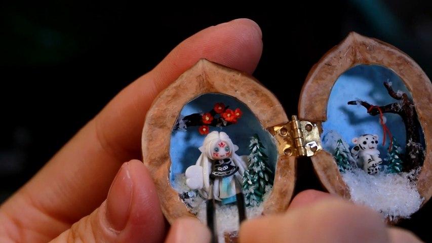 Artista chino crea fascinantes obras de arte con nueces