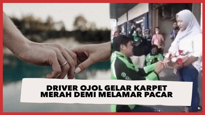 Warganet Baper, Viral Aksi Romantis Driver Ojol Gelar Karpet Merah Demi Melamar Pacar