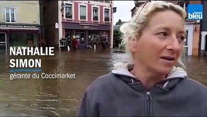 """Inondations dans l'Orne : le témoignage d'une commerçante de Sap-en-Auge qui a vu """"une vague traverser le magasin"""""""