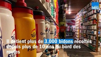 Ce Mayennais collectionne des milliers de bidons de coureurs cyclistes.