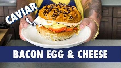 Creating A Caviar Bacon Egg & Cheese Sandwich