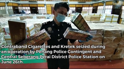 Penang police seize contraband  cigarettes and kretek worth RM7.8m in major bust