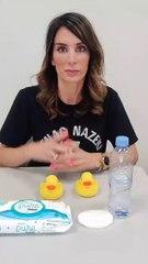 Yolanda Velaz testando las toallitas Aqua Pure de Dodot