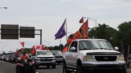 Manifestation à Kahnawake pour la fête du Canada