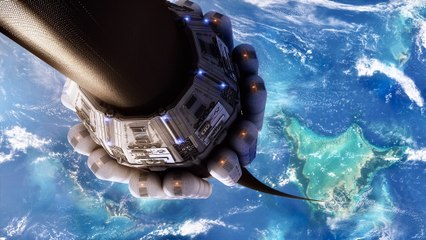 Space Elevator Connecting Earth To Space Station