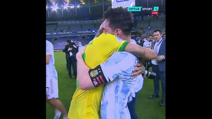 Messi & Neymar embrace at full-time after Argentina edge Brazil in 2021 Copa America