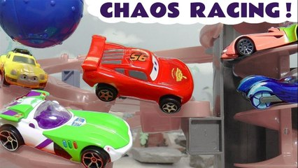 Disney Cars Lightning McQueen in Hot Wheels Chaos Racing Funlings Race Knockout Competition with PJ Masks and Marvel in this Family Friendly Full Episode Video for Kids by Kid Friendly Family Channel Toy Trains 4U