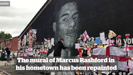 Marcus Rashford mural repainted amid community outpouring of support after artwork was defaced following Euros 2020 final