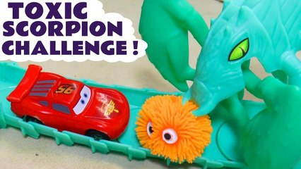 Hot Wheels Cars Toxic Scorpion Funlings Race Challenge with Disney Cars Lightning McQueen versus PJ Masks and Marvel Avengers Superheroes in this Stop Motion Racing Video for Kids by Kid Friendly Family Channel Toy Trains 4U