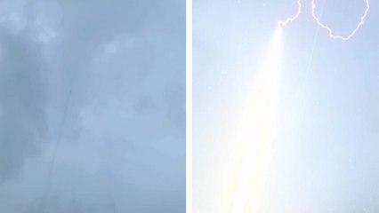 La foudre suit un fil de cuivre envoyé dans les nuages