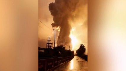 Explosion spectaculaire dans une usine chinoise à cause d'une inondation