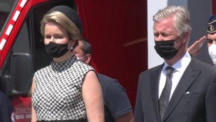 Cérémonie d'hommage aux victimes des intempéries en présence du couple royal et du Premier ministre à Verviers