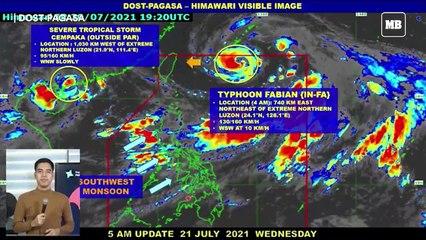 PAGASA: Typhoon 'Fabian' still enhancing southwest monsoon; 'habagat' rains affecting PH