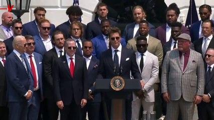 'Sleepy Tom' Brady Jokes With Biden in Super Bowl Victory Celebration Speech at the White House