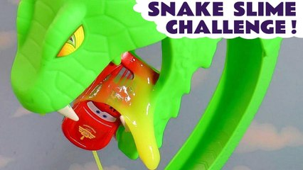 Pixar Cars Lightning McQueen in Toxic Slime Snake Funlings Race Competition versus Hot Wheels Racers in this Family Friendly Full Episode English Video by Toy Trains 4U