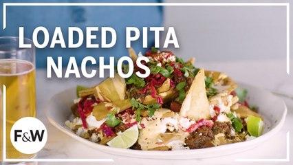 Cassie Piuma makes Loaded Pita Nachos with Lentil Chili and Feta Queso