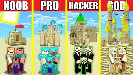 Minecraft Battle_ SAND CASTLE HOUSE BUILD CHALLENGE - NOOB vs PRO vs HACKER vs GOD Animation DESERT