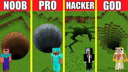 Minecraft Battle_ TUNNEL HOUSE BUILD CHALLENGE - NOOB vs PRO vs HACKER vs GOD _ Animation PIT HOLE