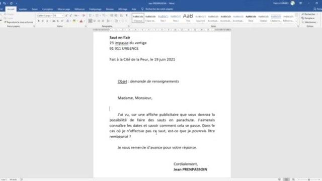 Tuto Word 2019 - Mettre en forme une lettre