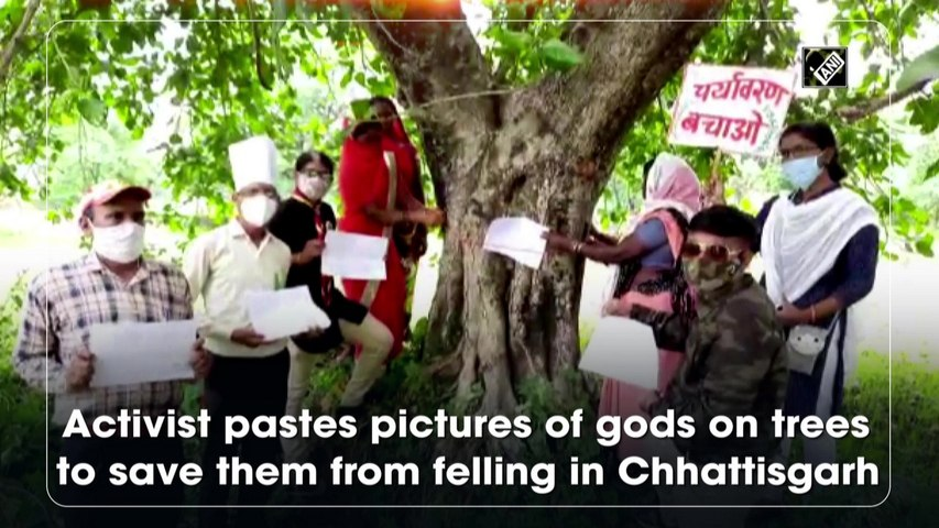 Activist pastes pictures of gods on trees to save them from felling in Chhattisgarh