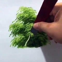 Ressamın çizdiği ağacın gövdesini tamamladığı harika görüntüler