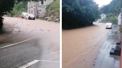 L'arrivée d'une inondation à Dinant