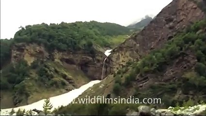 Waterfall and high altitude valley in Garhwal