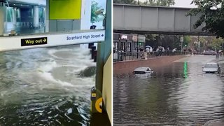 London flooding: vehicles stranded and tube stations submerged after thunderstorms