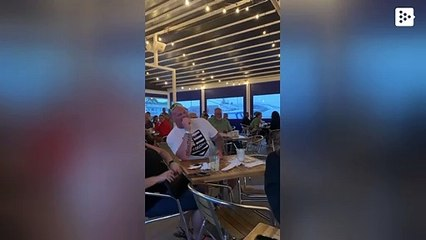 Little boy shows his 'muscles' and leaves entire restaurant cheering