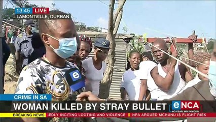 Woman killed by stray bullet in Durban