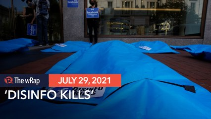 'Disinfo kills' body bags laid out in protest against Facebook