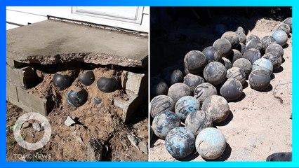 奇!住家地基挖出上百顆保齡球