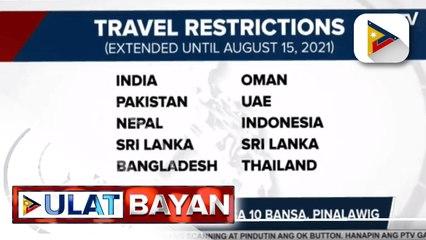 Travel restrictions sa 10 bansa, pinalawig