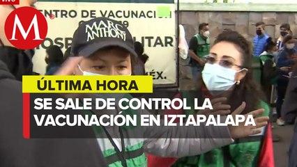Se reportan complicaciones y largas filas para la vacunación en Iztapalapa