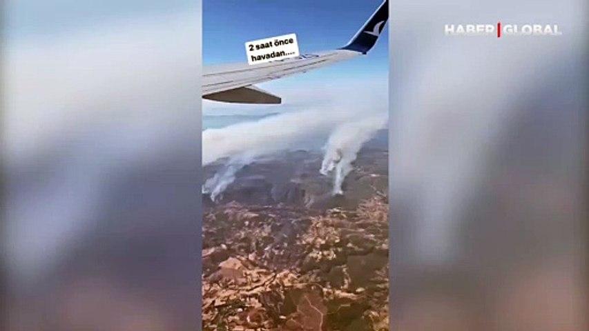 Yonca Evcimik yangın bölgesini havadan paylaştı! Dumanlar gökyüzüne yükseliyor